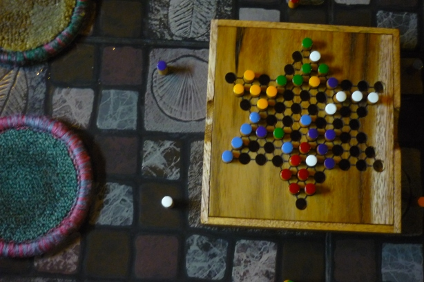 Nico's cute new wooden Chinese checkers game