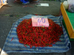 Red Hot Fresh Chillies in morning market in Chiang Mai, Thailand