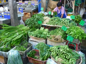 Green vegetables in morning market in Chiang Mai, Thailand