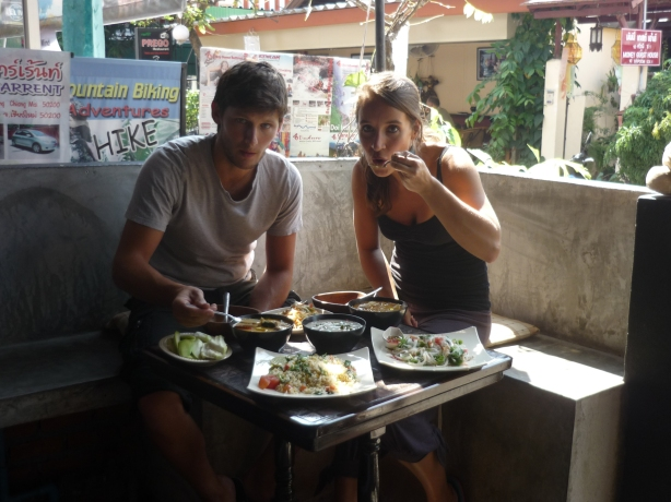 Nico and Lina enjoying first home-made Thai dishes prepared at Chang Chalaad restaurant in Chang Mai