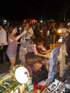 Browsing in the Sunday Night Market in Chiang Mai, Thailand