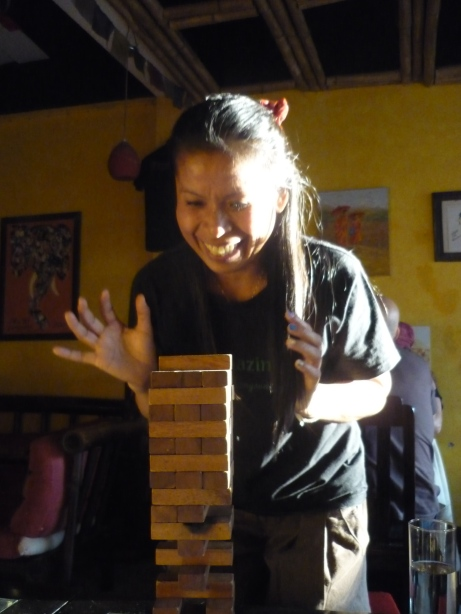 Payo getting excited by Jenga in Chang Chalaad, Chiang Mai, Thailand