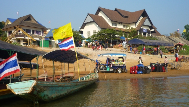 Border crossing from Chiang Kong in Thailand to Huay Xai in Laos across the Mekong River in a narrow boat