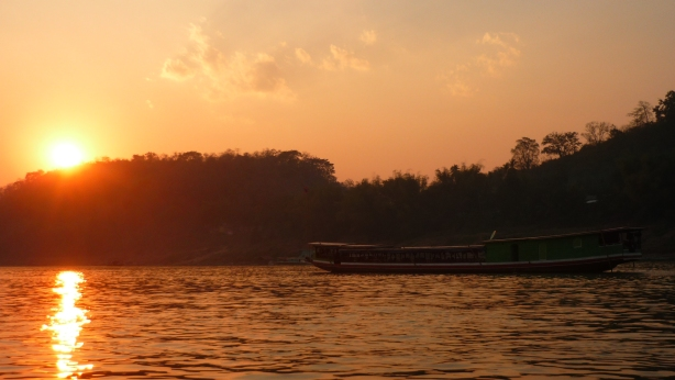 Sunset whilst slow boating along the Mekong River