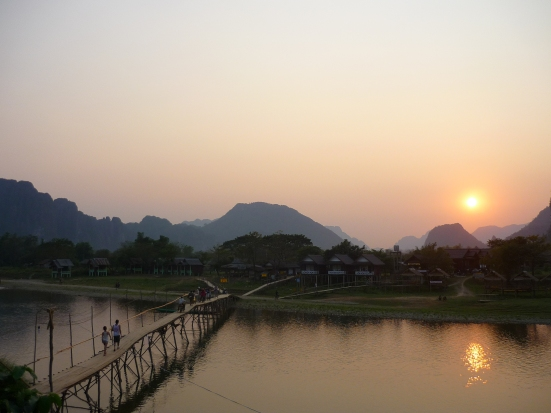Sunset on the Nam Song river at Vang Vieng, Laos