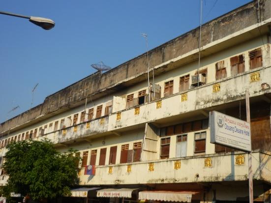 Run down ugly building in Vientiane, Laos