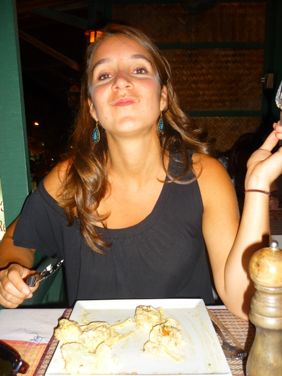 Lina's first plate of roulade de poulet in well-recommended Douang Deuane Restaurant and Wine Bar