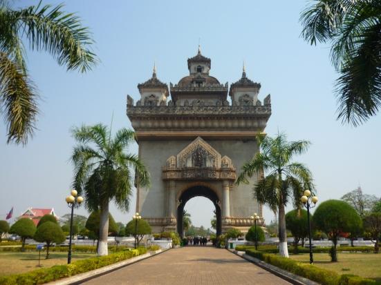 Patuxai – modelled after the Parisian Champs Elysés in Vientiane, Laos