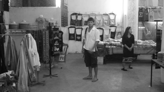 Nico caught in Patuxai's market, Vientiane, Laos