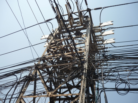 A typical electrical line in Southeast Asia, Vientiane, Laos