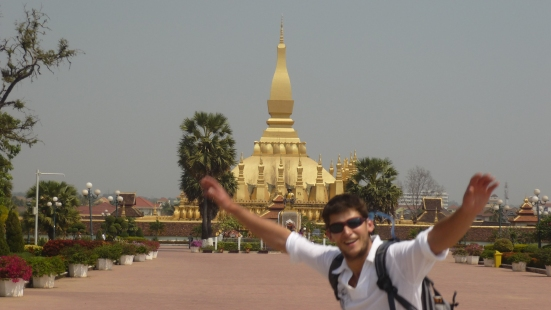 Nico's Party in front of Lao's national monument Pha That Luang in Vientiane