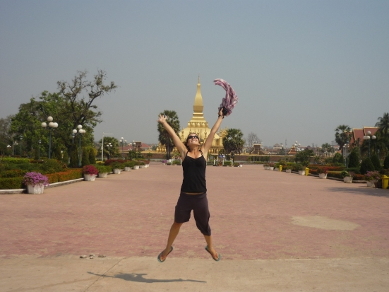 Lina's Party in front of Lao's national monument Pha That Luang in Vientiane
