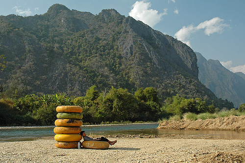 A borrowed photo of tubes from the web in Vang Vieng, Laos