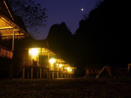 Nico took this remarkable night photo of our bungalow on the crag in Thakhek, Laos
