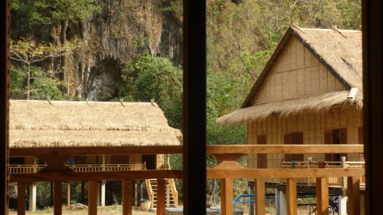 View from our bungalow, Thakhek, Laos