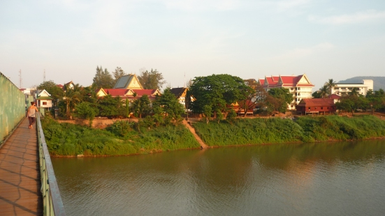 View from a bridge - river confluence at Pakse, Laos