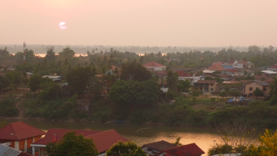 Sunset from our rooftop restaurant in Pakse, Laos
