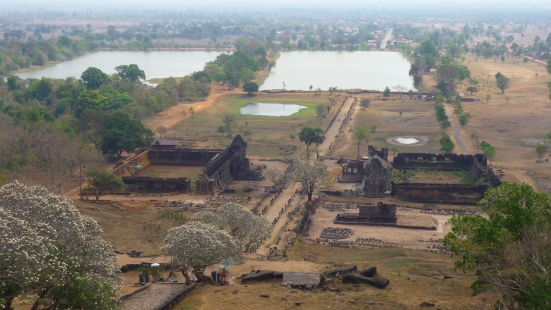 View of Wat Phu Champasak site from the temple in Laos