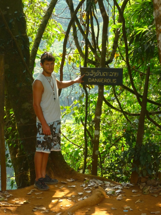 We've visited a few waterfalls whilst travelling so far, but Nico always seems to stand by the 'danger' signs