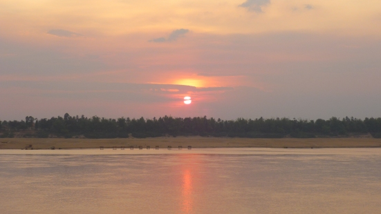 Sunset over the river in Kratie, Cambodia