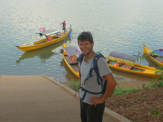 Nico before boarding the boat to see the Irrawady dolphins in Kratie, Cambodia