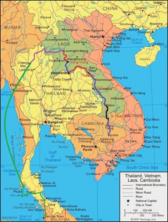 Route of Border Crossing from Si Phan Don in Laos to Kratie in Cambodia
