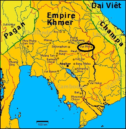 Wat Phu Champasak and the Khmer Empire (Map)