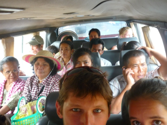 Bus at capacity from Kratie to Phnom Penh (at this stage, we didn't think the 'bad boys' could fit anyone else in - but we were wrong!)