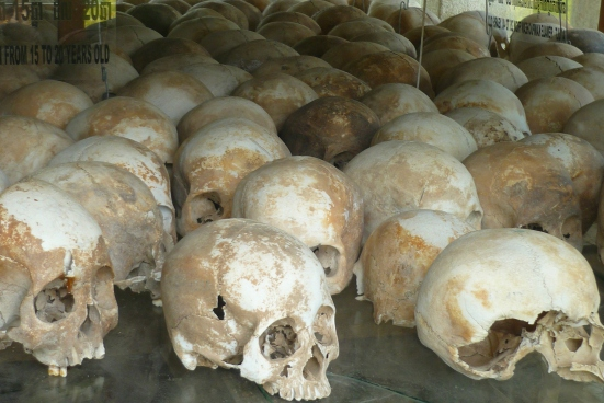 Evidence of crimes against humanity at Phnom Penh's 'Killing Fields' with skulls of victims displayed in a memorial (Note: I took a single picture when I was there, as I did feel uncomfortable photographing there)