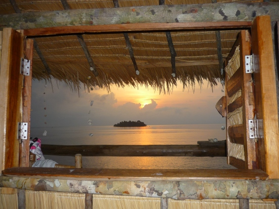 View of our beach at sunrise from our Koh Rong Treehouse in Cambodia