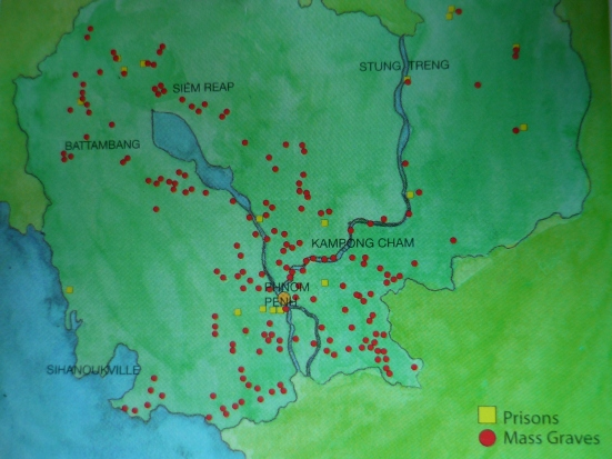 Mass grave sites around Cambodia (source: Killing Fields pamphlet)
