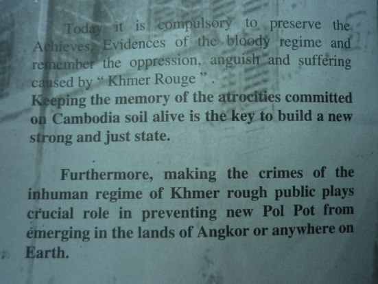 Final words of the S.21 Genocide Museum pamphlet: Encouraging making public of atrocities committed to prevent a repeat of genocide in Cambodia, but also to raise awareness for it not to reoccur internationally in the future