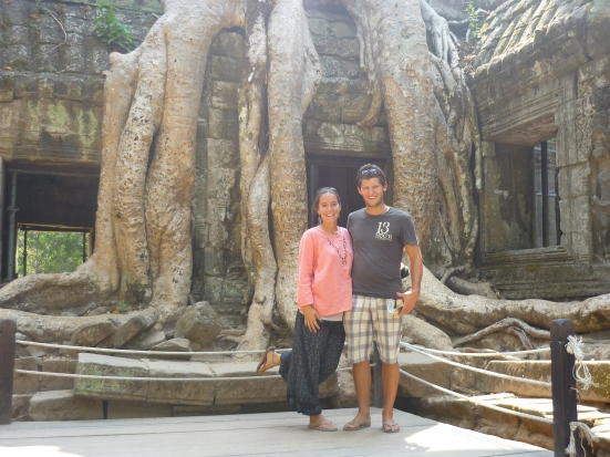 Where nature and man unite: Us and Ta Prohn Temple in Angkor, near Siem Reap, Cambodia