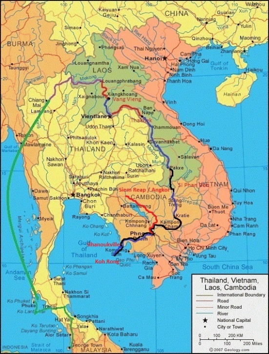 Red line shows route from Phnom Penh to Siem Reap (town nearest Angkor Archaeological Park)