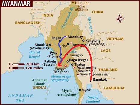 445 Miles to Mandalay from Yangon in Myanmar