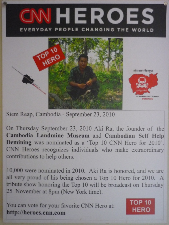 Photo of Aki Ra's CNN Heroes Poster at the Cambodian Landmine Museum in Siem Reap, Cambodia