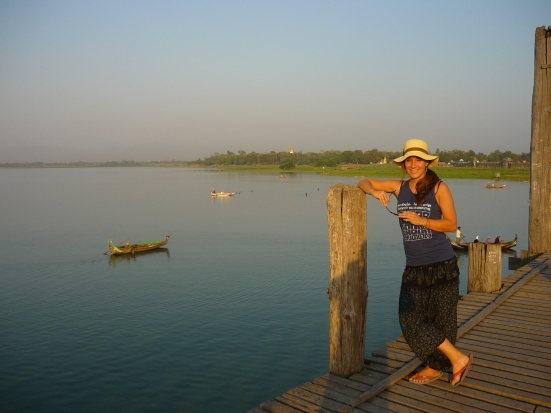In jest, Nico regularly referred to me as the 'British colonialist' whilst wearing my quite practical head-dress. Posing at the gorgeous U Bein bridge in Amanapura, a township outside of Mandalay in Burma (Myanmar).