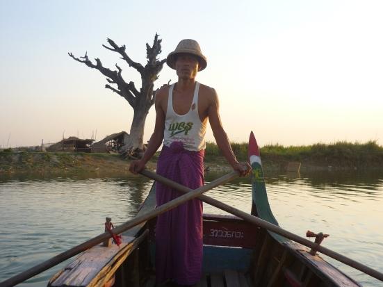 Our personal Burmese boat driver at U Bein bridge in Amanapura near Mandalay in Myanmar