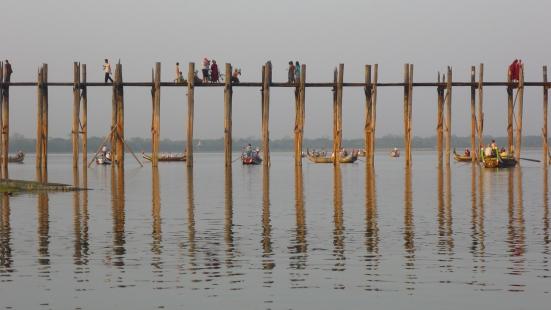 Picturesque U Bein bridge at Amarapura, a township near Mandalay, in Myanmar (Burma)