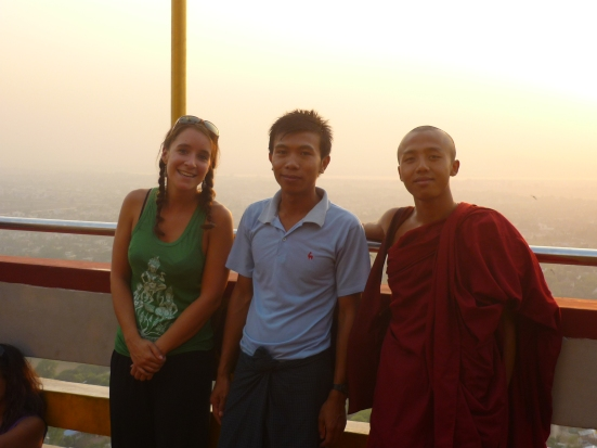 Conversations with a red-robed monk and his pal on Mandalay Hill in Myanmar (Burma)