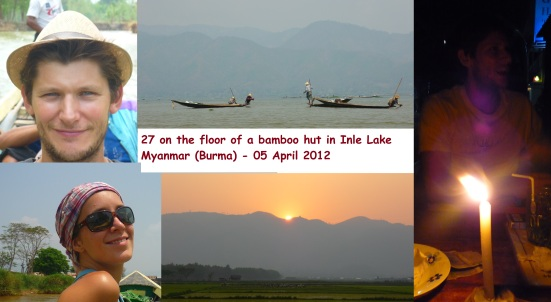 27 on the floor of a bamboo hut at Inle Lake in Myanmar (Burma)
