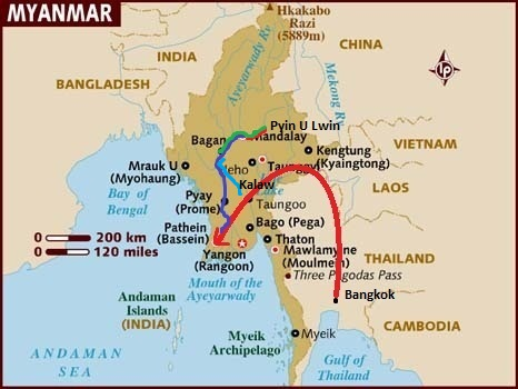 Bagan to Kalaw in Myanmar (Route on map)