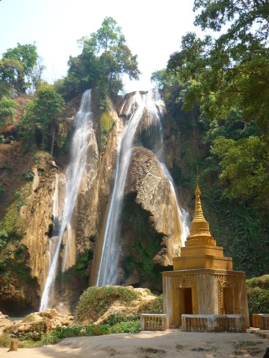 Beautiful waterfall and small Buddhist temple at Pwin Oo Lyin in Myanmar (Burma)