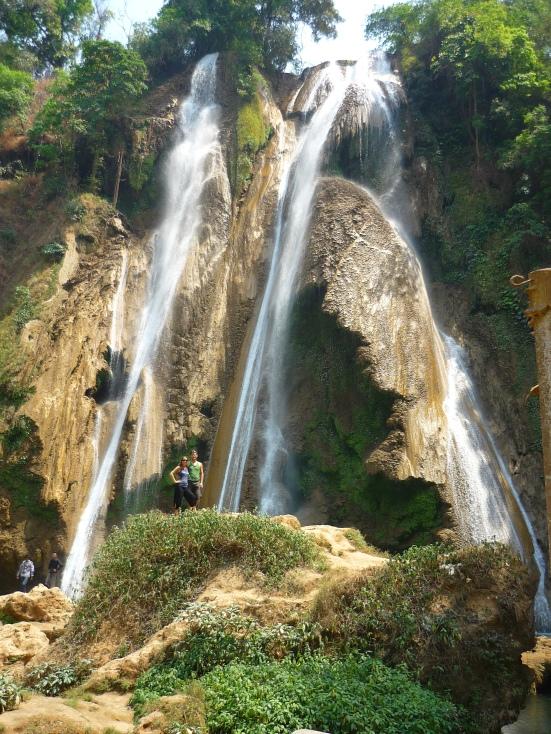 Nico and Lina pose at waterfall in Pwin Oo Lyin in Myanmar (Burma)