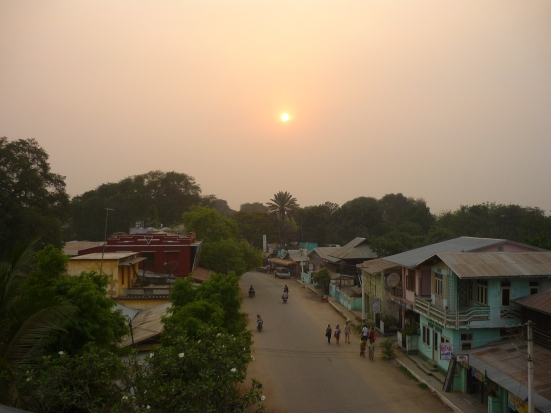 Sunset from our hotel rooftop overlooking the 'commercial' street within the Bagan archaeological zone in Myanmar (Burma)