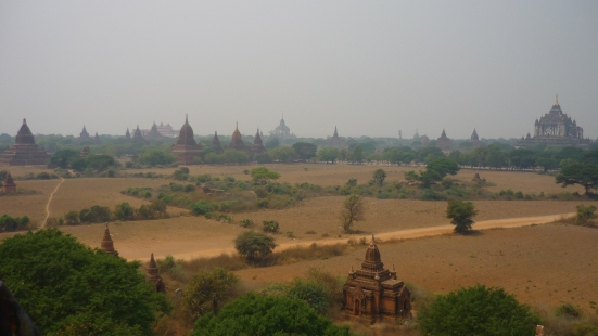Can you see anything other than trees, land and temples in the this shot of Bagan in Myanmar (Burma)?