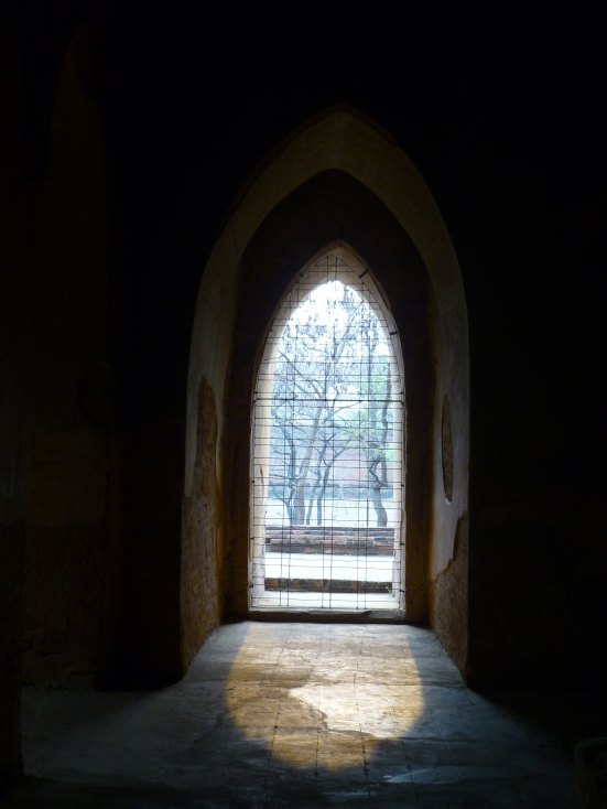 View from within a Burmese temple in Bagan