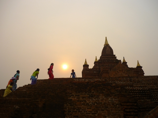 Sunset in Bagan: the only other tourists were local Burmese, many of whom were so interested in our presence as Westerners, we were frequently followed around, asked to shake hands and asked to pose for photographs. Nico and I - in Burma - became the tourist attraction.