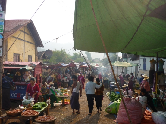 Bustling morning market in Kalaw, Myanmar (Burma)