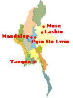 Pyin oo Lwin in relation to Mandalay on Myanmar map